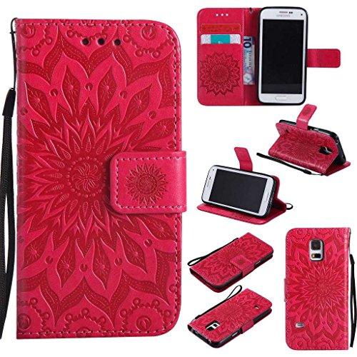 KKEIKO Hülle für Galaxy S5 Mini, PU Leder Brieftasche Schutzhülle Klapphülle, Sun Blumen Design Stoßfest HandyHülle für Samsung Galaxy S5 Mini - Rot