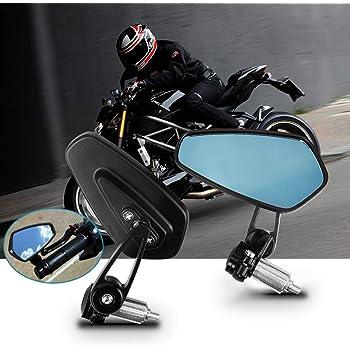 Rockyin Di alluminio universale del motociclo 7//8 Handle Bar Back End retrovisore laterale Specchi Red
