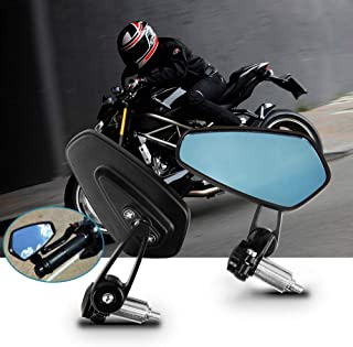Spiegel für Lenkerende, Aolead Motorrad Spiegel 7/8'' 22mm, Lenkerendenspiegel Motorrad für Scooter Cruiser Blau