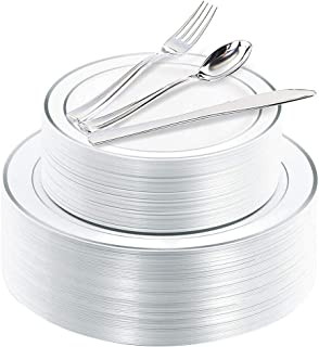 200 Pieces Silver Disposable Plates with Plastic Silverware, Premium Heavyweight Silver Plastic Plates Includes: 40 dinner...