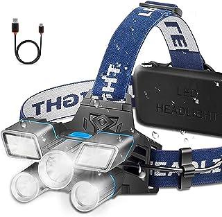 Headlamp Ultra Bright 21 LED Headlight Flashlight Work Light with Power Indicator 13000 Lumen USB Rechargeable Waterproof ...