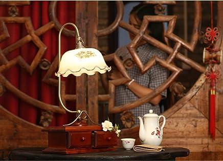 MILUCE レトロノスタルジアベッドルームベッドサイドランプ結婚式クリエイティブレトロドレッサーランプソリッドウッド調光装飾ライト
