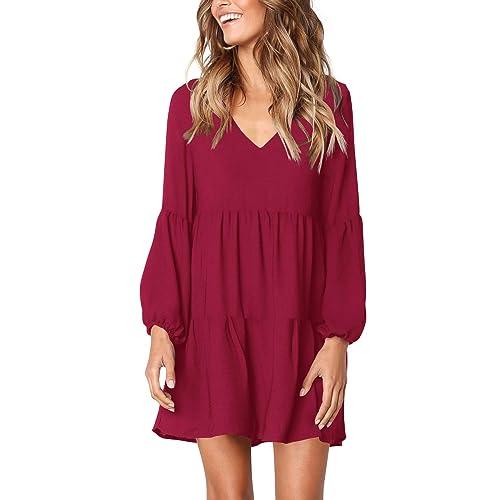 1343b39f5be9 FHKDL Women s Short Sleeve Long Sleeve Summer Dress Casual Ruffle Swing  Shift Dresses