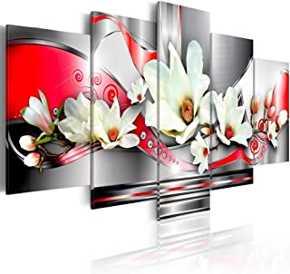 red floral canvas art