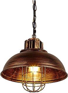 Huahan Haituo Lámpara de araña industrial de metal vintage, lámpara colgante de luz de techo colgante industrial retro 1 luz con cadena (33 cm, oro de barrido)
