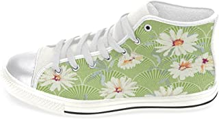 INTERESTPRINT Women Canvas Shoes Daisy in Green Background High Top Trainers Flat Shoes Lace Up Sneakers Fashion Form