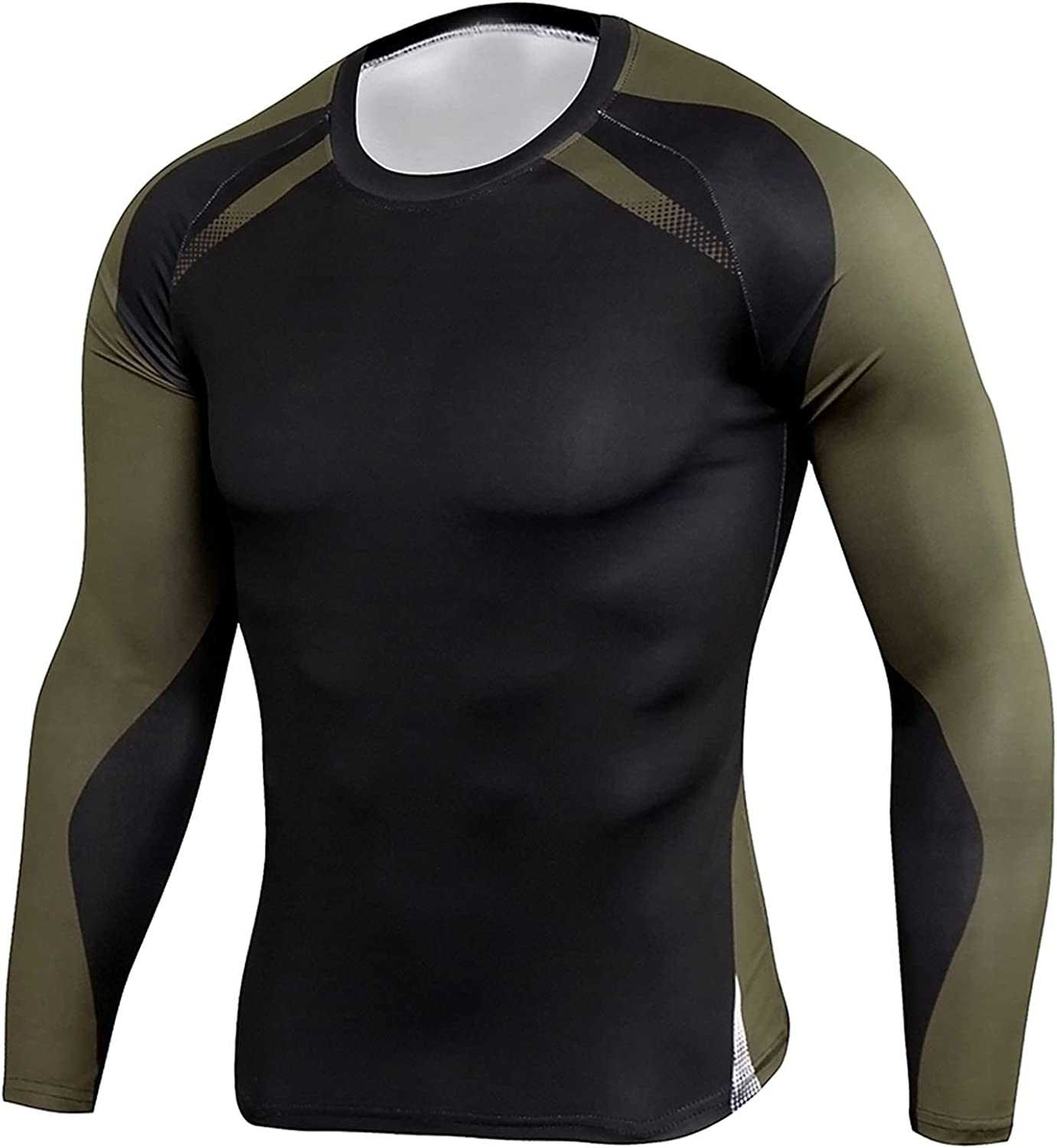 DZQUY Men's Quick Dry Compression Muscle Shirts Long Sleeve Casual Slim Fit Tops Outdoor Jogging Athletic Workout T Shirts