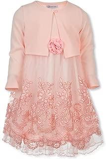 Bonnie Jean Girls Soft Pink Embroidered Size 4-6X Dress & Cardigan