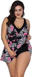 Conjunto Bikini Mujer Dos Piezas Estampado Falda Verano para Playa Ropa de Baño Punto Floral Dama Escote V Sin Manga Tirante Talla Grande XL-4XL Volante Flounce