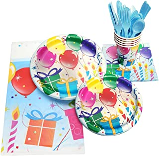 "130 Piece Birthday Party Supplies - Serves 16 - Including - 9"" Plates, 7"" Plates, Napkins, Cups, Forks, Spoons, Knives, And Tablecloths"