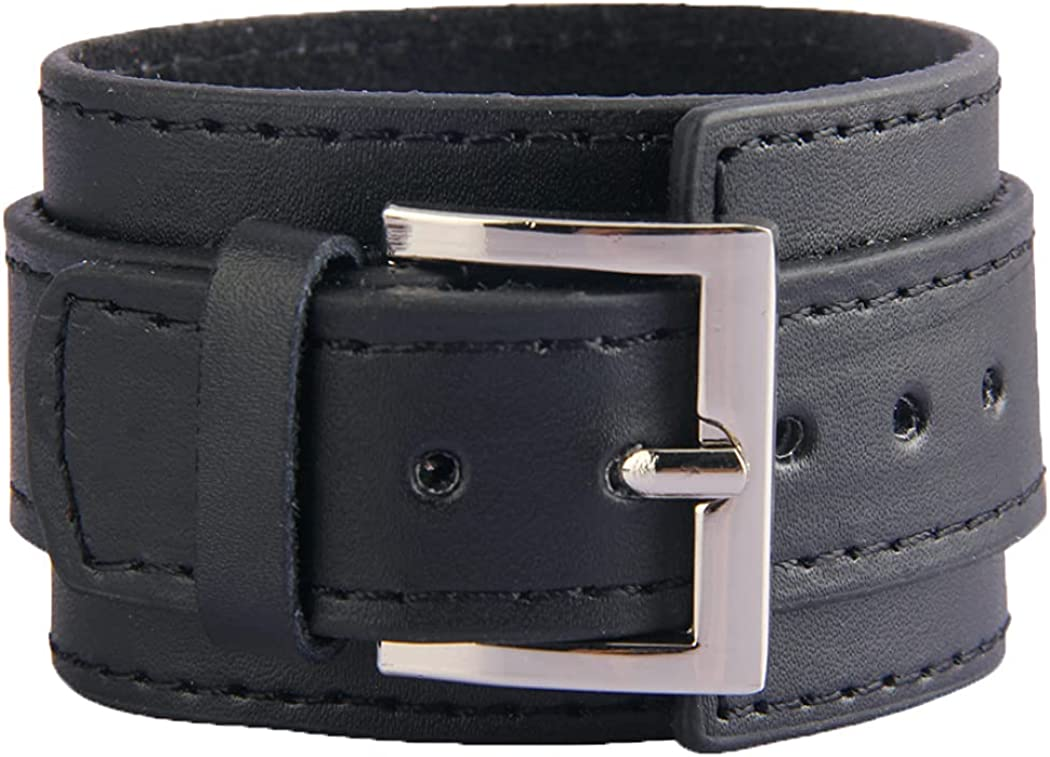 Black Brown White Leather Cuff Bracelet for Men Women Two Layers Adjustable Belt Buckle Wristband