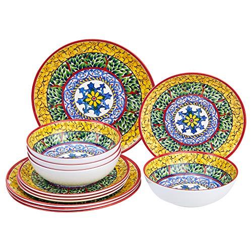 Amazon Basics 12-Piece Melamine Dinnerware Set - Service for 4, Traditional Decorated