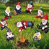 Jetec 10 Stück Garten Mini Zwerg Ornamente, Garten Zwerg Mikro-Landschaft Dekoration, Miniatur-Feengarten Statue Zubehör für Outdoor, Topfpflanze, Desktop, Arbeit und Biertrinkstil