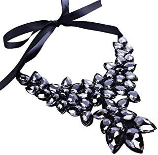 Pendant Elegant Crystal Flower Choker Necklace Ribbon Chain Chunky Collar Jewelry Bib Women Colorful,Colour:Grey (Color : Grey)