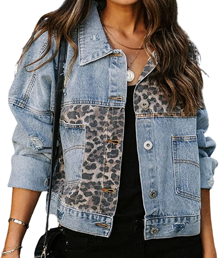 Denim Jacket for Women Ripped Distressed Leopard Print Basic Button Down Jean Jacket