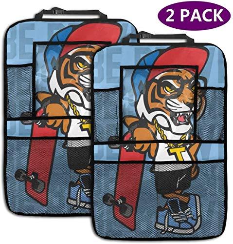 ASKSWF Backseat Car Organizer Tiger Skateboard Car Backseat Organizer Seat Protector Travel Accessories for Kid & Toddlers (2 Pack)
