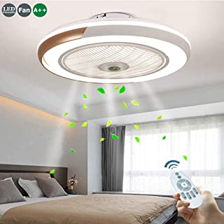 Ventilador De Techo 60W LED Lámpara Creative Regulable Ventilador De Techo 3000-6500K Invisible Lámpara Luz Techo Del Plafón Infantil Bajo Ruido Adecuado Para Sala De Estar Dormitorio Habitación,Oro