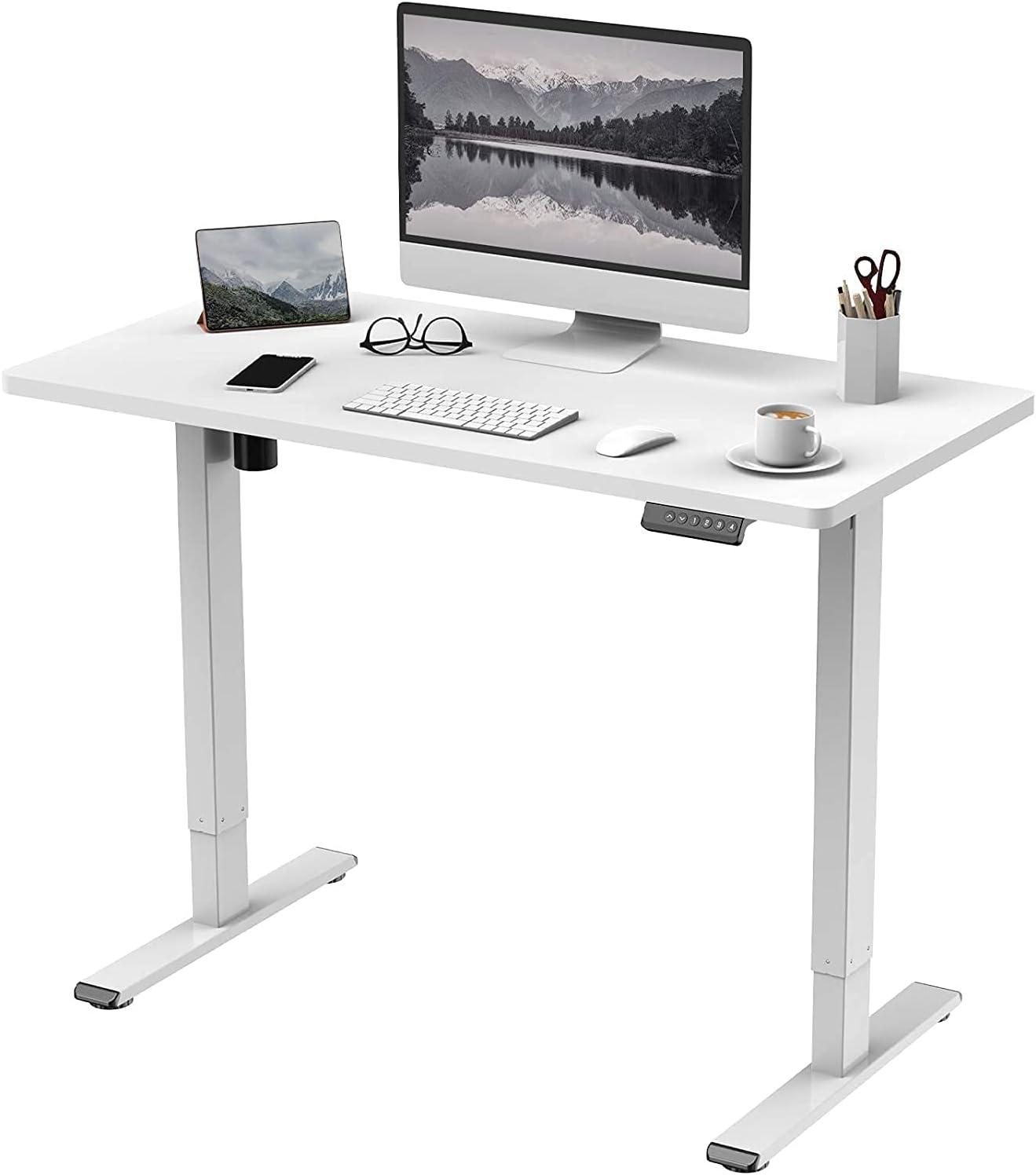 Buy FLEXISPOT Electric Height Adjustable Standing Desk Sit Stand Desk  Adjustable Desk Stand Up Desk with Memory Smart Pannel EF1 Series(120 *  60cm, White Frame+White Desktop) Online in Turkey. B07KK1B2KJ