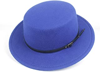 2019 Mens Womens Hats Mens Flat Top Fedora Hat Winter Casual Hat for Men Women Church Hat Adjustable Outdoor Size 56-58CM Hat High 9.5CM Travel Wide Brim Church Hat (Color : Blue, Size : 56-58)