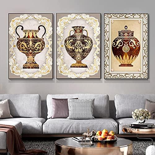 MKWDBBNM Retro nórdico Decorativo Olla de Barro Lienzo Pintura Rosa Perla póster e Impresiones Cuadros de Arte de Pared para habitación hogar | 50x75cmx3 sin Marco