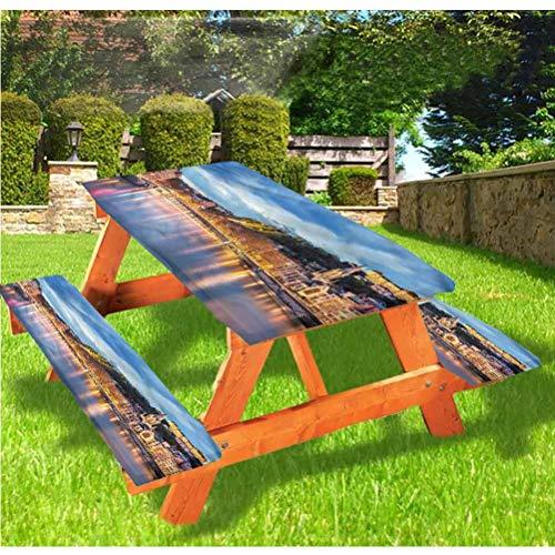 LEWIS FRANKLIN Cortina de ducha europea para mesa de picnic y banco, mantel ajustable Saone River Lyon City con borde elástico, 28 x 72 pulgadas, juego de 3 piezas para mesa plegable