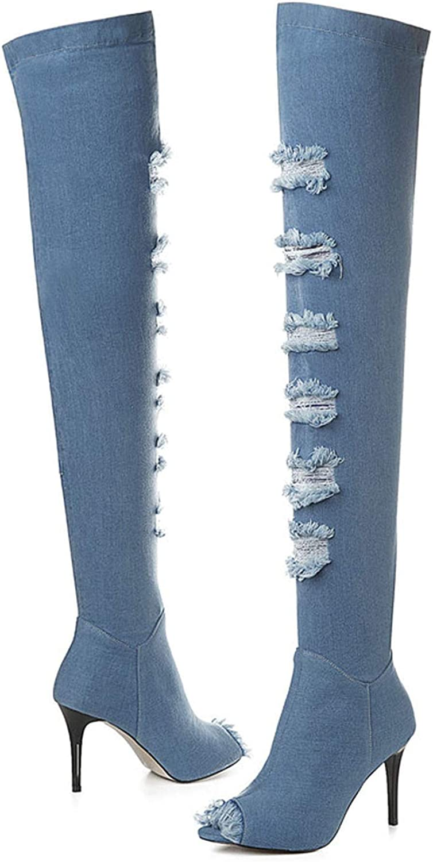 Longbao 2019 New Denim Women Thigh High Boots Peep Toe High Night Club shoes