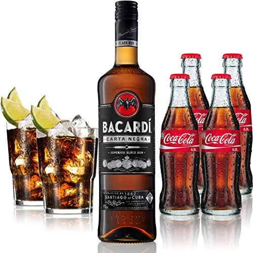 Cuba Libre Set - Bacardi Carta Negra Rum 1L (40% Vol) + 4x Coca Cola 0,2L + 2x Bacardi Glas Gläser 2/4cl geeicht - Inkl. Pfand MEHRWEG