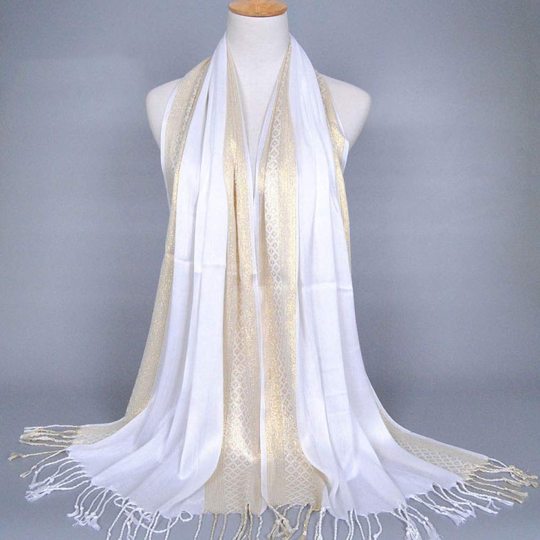 Juexianggou 2018 gold silk ethnic scarf, monochrome ladies tassel cotton scarf Lightweight Women Scarf