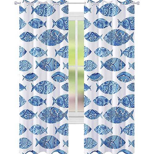 YUAZHOQI Cortina opaca para ventana con figuras de animales de mar de peces azules con cortinas otomanas antiguas de 132 x 213 cm