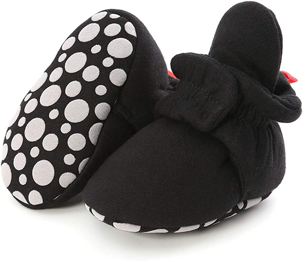 LAFEGEN Baby Booties for Boys Girls with Soft Lining Non Slip Gripper Newborn Infant Slipper Socks Toddler First Walker Crib Shoes 0-18 Months