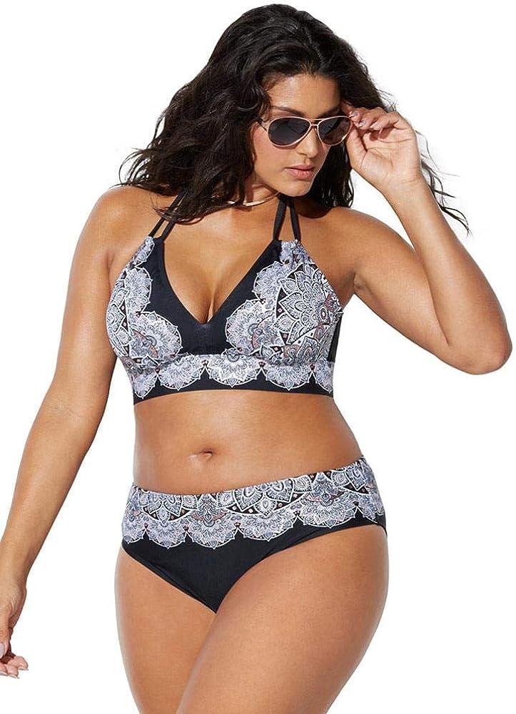 Swimsuits For All Women's Plus Size Avenger Halter Bikini Set