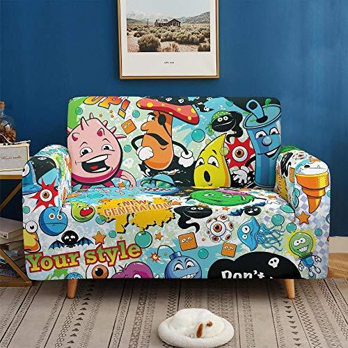 3D Imprimir Funda de Sofá Elástica Funda Sofá Gruesa Antideslizante, Cubierta Sofa Muebles con Cuerda de Fijación Antideslizante Protector de Muebles (Graffiti De Hip Hop, 4 Plazas )