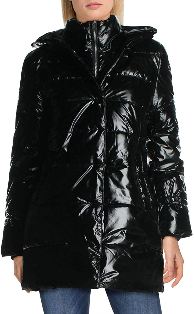 Betsey Johnson Women's Glossy Quilted Long Winter Puffer Coat