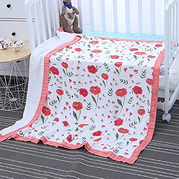 Queness Bamboo Muslin Swaddle Blanket Baby Stroller Blanket Receiving Blanket For Newborn Boy Or Girl Unisex Baby Toddler 2 Layers 43 X 47 Inch Red Flower