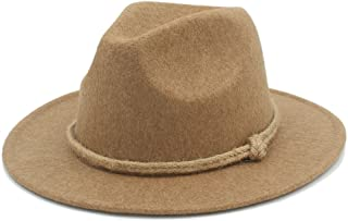 Xiang Ye Women's Men's Wide Brim Fedora Hat For Lady with hemp rope