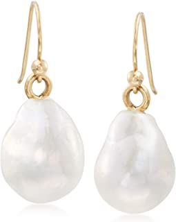 Ross-Simons 12-14mm Cultured Baroque Pearl Drop Earrings in 14kt Yellow Gold