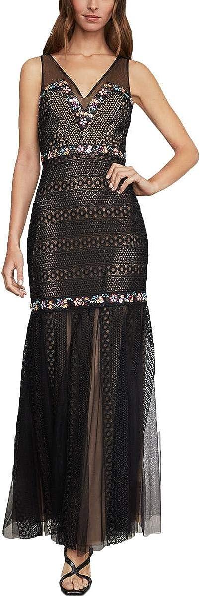 BCBGMAXAZRIA Womens Lace Embellished Evening Dress