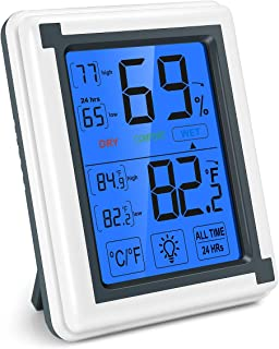 Brifit Digital Hygrometer Indoor Thermometer, Accurate Temperature Humidity Monitor with Touch LCD Backlight, Humidity Gauge Meter for Home, Office, Greenhouse