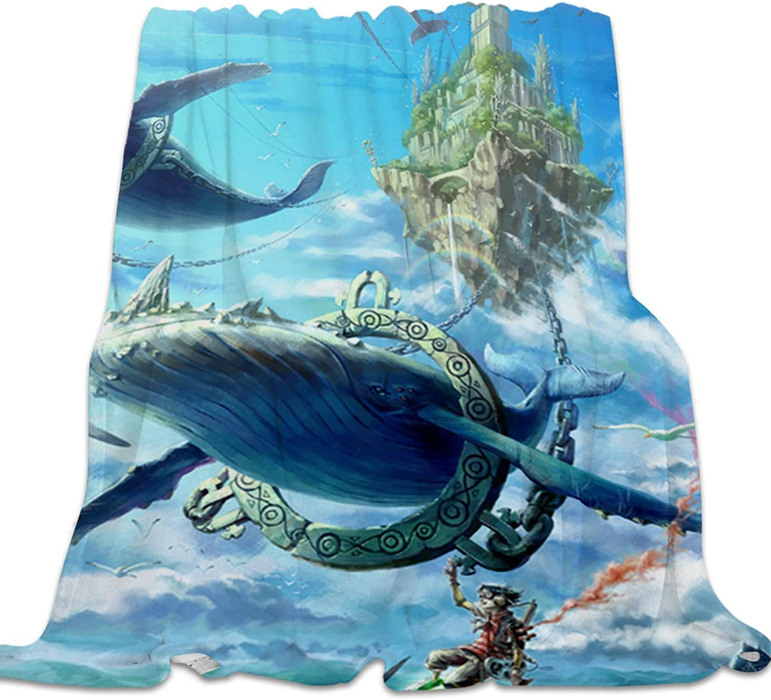 YEHO Art Gallery Flannel Fleece Bed Blanket Soft Throw-Blankets for Kids Adult,Beautiful Landscape of Fish of Deep Sea,Comfort Blankets for Sofa Couch Bedroom Living Room Decor,39x49inch