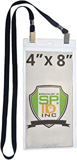 5 Pack - Extra Large 4 x 8 Inch Ticket & Event Credential Badge Holders with Double Sided Lanyards with Two Bulldog Clips, by Specialist ID (Black)