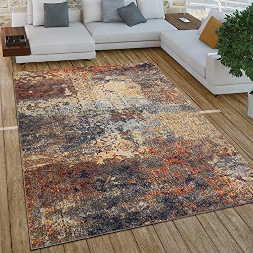 Paco Home Wohnzimmer Teppich Im Vintage Used Look, Industrial Style Kurzflor in Rostfarben, Grösse:240x340 cm, Farbe:Mehrfarbig 4