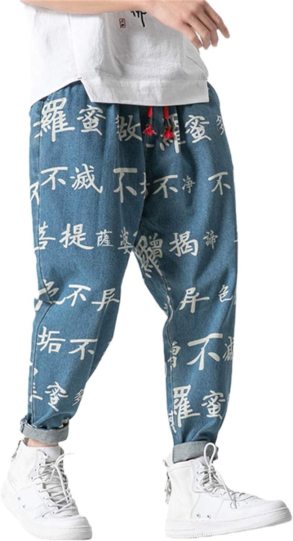 GUOYUXIAO Chinese Character Denim Pants Men Jogger Japanese Streetwear Joggers Men Pants Hip Hop Trousers Men Pants