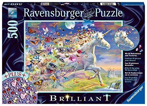 Ravensburger- Schmetterlingseinhorn, Brilliant Puzzle 500 Piezas, Multicolor (15046)