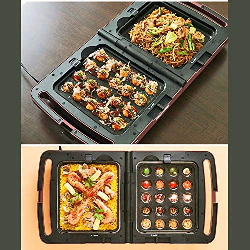 éLectrique Barbecue Gril, Plaque Portable Pliable Teppanyaki Takoyaki Machine Gril De Table Plat Chaud pour IntéRieur De Plein Air Un Barbecue Jardin RéUnion De Famille 1300w