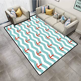Living Room Rug Anchor Decor Simple Pattern Anchor Stripe Artwork Baby Welcoming Wavy Water Surface Tile Carpet mat 2'x8'