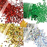 40 Grams 4 Colors Maple Leaf Glitter Green Leaf Cosmetic Glitter, Festival Rave Beauty Makeup Face Body Nail...