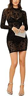 فستان قصير باكمام طويلة وتصميم ضيق- اسود