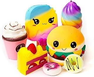 SYYISA Jumbo Squishies Slow Rising [7-Pack]: Ice Cream, Hamburger, Cake, Ice Lolly, Donut, and Frappuccino Kawaii Soft Foo...