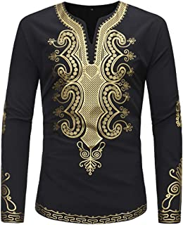 Shirts for Men, Men's Autumn Winter Luxury African Gold Print Long Sleeve Dashiki Top Blouse