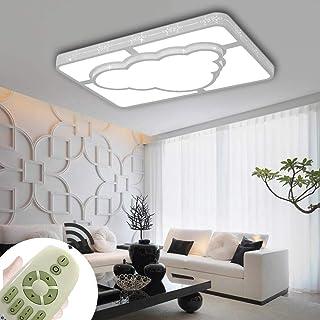 72W Luz de techo Led moderna y creativa Nube rectangular Lámpara de habitación de estudio para para niños niñas dormitorio 3 colores regulables (72W Regulable 3000-6500K)